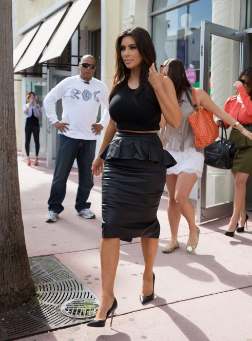 Kim Kardashian wears peplum
