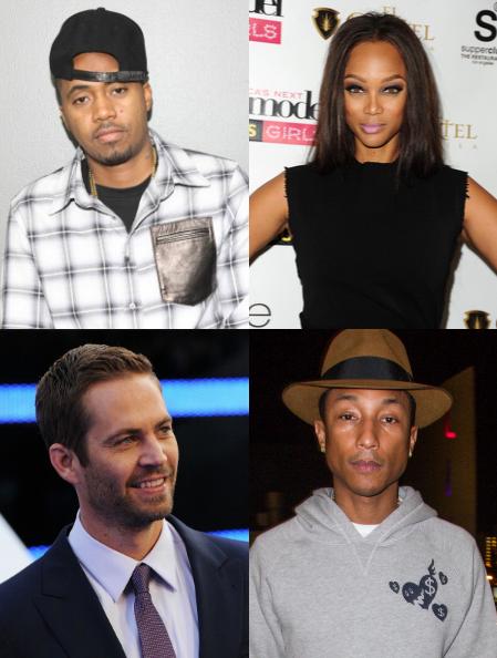 Nas, Tyra Banks, Pharrell Williams, and Paul Walker