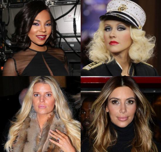 Ashanti, Jessica Simpson, Christina Aguilera, and Kim Kardashian