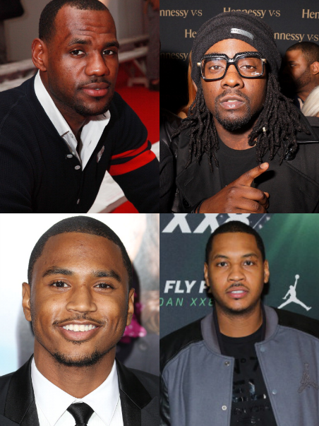 Trey Songz, Lebron James, Wale, and Carmelo Anthony