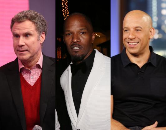 Will Ferrell, Jamie Foxx, and Vin Diesel