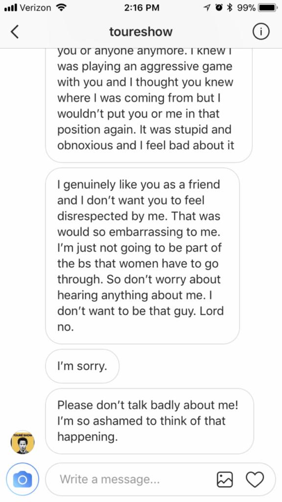 dani-toure-instagram-direct-message-apology