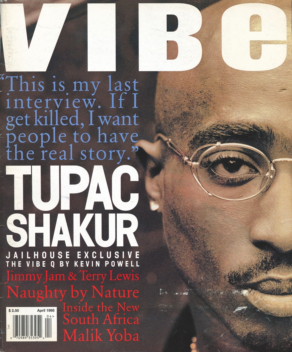 tupac wearing glasses on vibe magazine's april 1995 cover