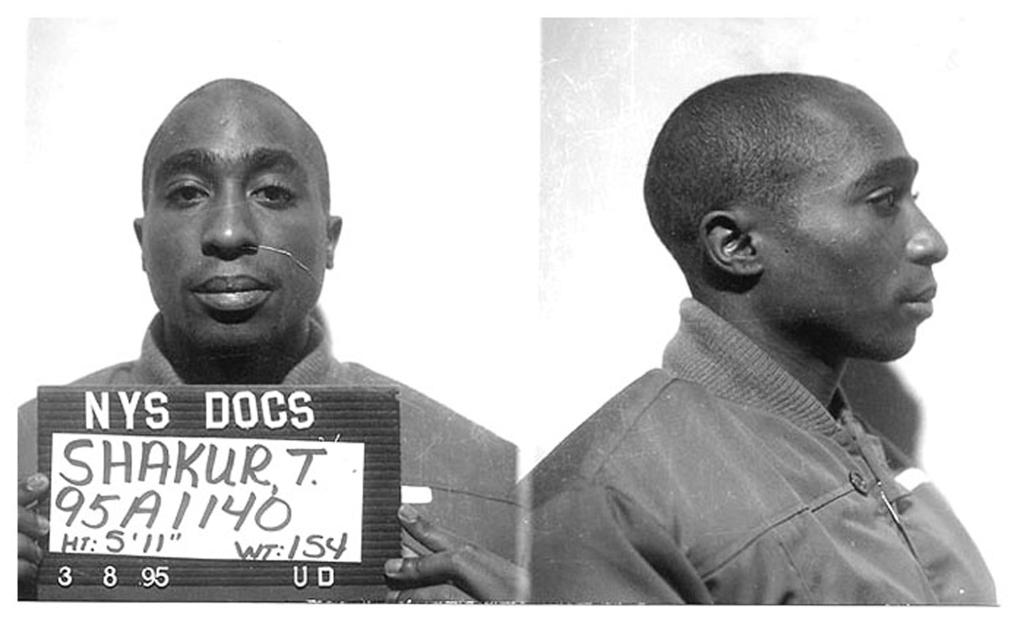 tupac shakur black and white mug shot after 1995 rap case conviction